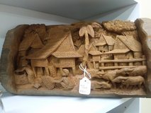 Wood Carved Village Amazing Detail, Hanging in Fort Rucker, Alabama