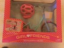 "GirBicycle with Helmet for 18"" Dolls - NEW in Joliet, Illinois"