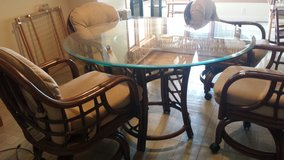 Rattan table with glass top in Fort Knox, Kentucky