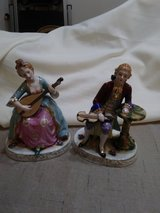 Fine porcelain figurines with instruments  Made in Occupied Japan in Glendale Heights, Illinois