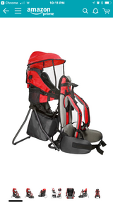 Baby Back Pack Cross Country Carrier Stand Child Kid Sun Shade Visor Shield Red in Fort Gordon, Georgia