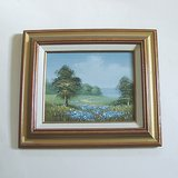 FRAMED MEADOW LANDSCAPE PAINTING ON CANVAS 13x15 in Oswego, Illinois