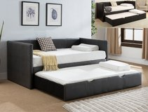 BRAND NEW! QUALITY SOFT LEATHER GREY SOFA DAYBED WITH TRUNDLE W/ MATTRESSES:) in Camp Pendleton, California
