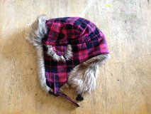 Pink plaid fuzzy hat in 29 Palms, California