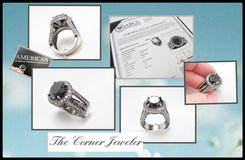 14K White Gold, with a touch of Black Rhodium Black Diamond  , 9.12 TCW Engagement Ring in Camp Lejeune, North Carolina