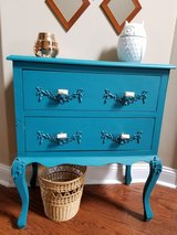 REDUCED!! Beautiful Azure lowboy dresser/chest, Anthropologie marbled-gold hardware in Fort Campbell, Kentucky