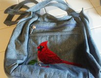 Denim bag with Cardinal embroirdery in Cherry Point, North Carolina