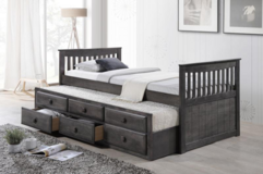 BRAND NEW! QUALITY SOLID WOOD GREY FINISED TWIN CAPTAINS BEDFRAME w/TRUNDLE + MATTRESSES in Camp Pendleton, California