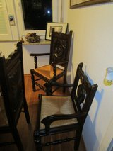 Antique German mahogany dinning table/with custom made pads and 10 chairs in Stuttgart, GE