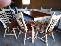 Solid wood table and 2 leafs and 6 chairs in Fort Polk, Louisiana
