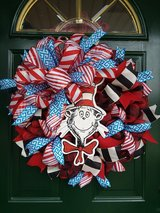 Cat In The Hat Mesh Wreath in Plainfield, Illinois