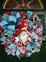 Cat In The Hat Mesh Wreath #2 in Plainfield, Illinois