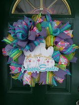 Happy Easter Mesh Wreath in Plainfield, Illinois