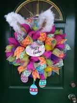 Happy Easter Bunny Mesh Wreath in Plainfield, Illinois