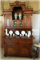 rare Art Nouveau dining room hutch with authentic stained glass in Ansbach, Germany