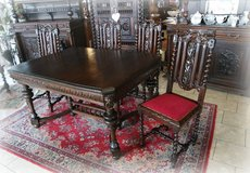 antique dining room set with 4 chairs in Spangdahlem, Germany