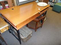 DESK - WOOD TOP/METAL LEGS / USA MADE in Cherry Point, North Carolina