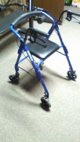 Featherlight Four Wheel Walker with Loop Hand Brakes in Blue in Elgin, Illinois