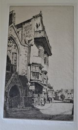 Etching of Mol's Coffeehouse Exeter by artist Alexander P Thomson R S W in Ramstein, Germany