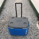 Coleman 60 Qt portable camping fridge / cooler - Rigid with wheels, blue, M. in Okinawa, Japan