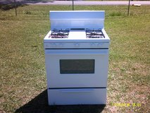 used gas cooking range, white in League City, Texas