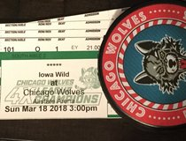 Chicago Wolves Sunday March 18th 3PM 4 great lower level seats HUGE SAVINGS in Aurora, Illinois