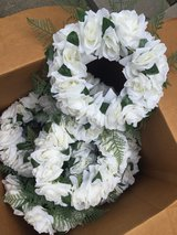 White flower wreaths for wedding centerpieces in Kingwood, Texas