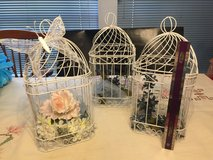 3 white wire birdcages --wedding decor in Kingwood, Texas