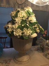 Two huge white urns--wedding decor in Kingwood, Texas