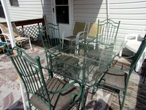 In House or Patio Glass Top Table and Four Sturdy Chairs in Byron, Georgia