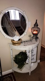 Shabby chic chalked painted 2pc entry way table w mirror Beautiful shabby chic 2pc entryway tabl... in Bolingbrook, Illinois