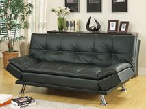 "INVENTORY SALE!  QUALITY URBAN BLK LEATHER ""COMFY"" PILLOWTOP SOFA BED / FUTON in Camp Pendleton, California"