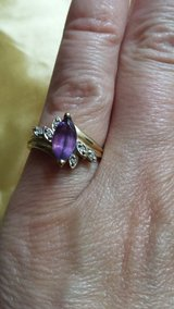 10 K GOLD RING AMETHYST /DIAMOND in Macon, Georgia