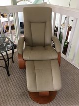 Leather Living Room Chair w/Ottoman in Kingwood, Texas