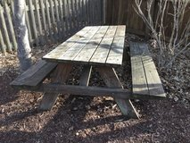 Weathered picnic table in Plainfield, Illinois