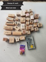 Small wooden stamps in Travis AFB, California