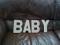 """White wood and burlap """"BABY"""" letters in Aurora, Illinois"""