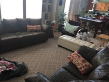 Genuine Leather Couch Set/ Good Condition in Joliet, Illinois