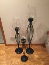 "3 Wrought Iron and Glass Floor Candle Holders - 32"", 38"" and 47"" Tall in Bolingbrook, Illinois"