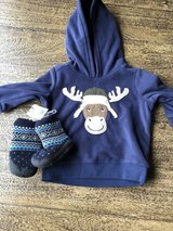 Sweatshirt and Boots NWT 6 months in Clarksville, Tennessee