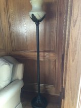 Oil Rubbed Bronze Floor Lamp with Marbled Glass Shade in Glendale Heights, Illinois