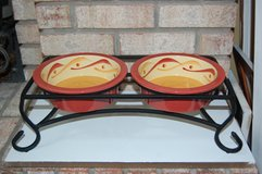 Southern Living Gail Pitman Sienna Dog Bowls and Iron Stand in Plainfield, Illinois