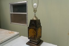 Brass and Amber Glass 3 Way Lamp in Alamogordo, New Mexico