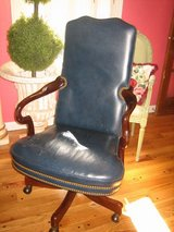 HANDSOME navy leather hancock & moore office rolling desk chair in Naperville, Illinois