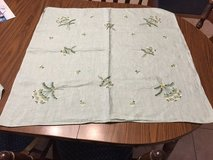 Antique Green Floral Hand Embroidered Card Table Tablecloth in Joliet, Illinois