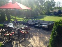 Patio Furniture w/ 7 piece dining Set, 7 piece couch set, and umbrella in Elgin, Illinois