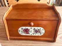 Bread Box Wooden Flip Front-Apple Design Inlaid  Front in Tinley Park, Illinois