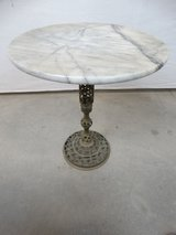 Marble Topped Brass Base Accent Table in Pasadena, Texas