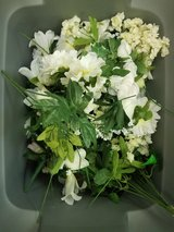 2 Totes mostly white silk flowers in Conroe, Texas