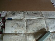 2 original 19th century English Indenture Contracts in Ramstein, Germany